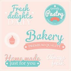 Retro collection of signs labels with BAKERY text