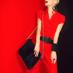 Portrait of a glamorous girl .black and red style