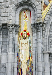 fresque du christ,à lourdes à la basilique