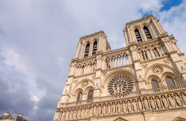 Paris. Wonderful view of Notre Dame Cathedral on a summer aftern