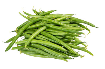 Fresh picked green beans isolated