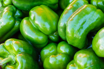 Green bell peppers on display at the market