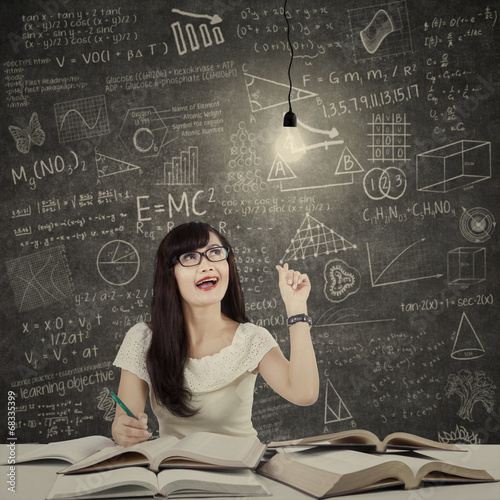 Female student getting bright inspiration 1