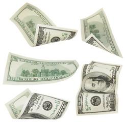 Set flying 100 dollars banknotes isolated on white background
