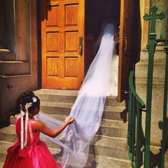 Bride Walking into Church for her Wedding