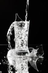 Water stream in the broken glassware