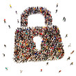 Large group of people seeking security protection - 68336308