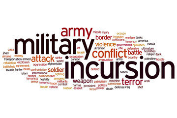 Military incursion word cloud