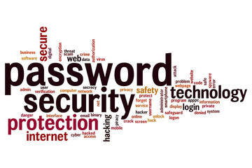 Password security word cloud