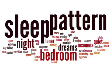 Sleep pattern word cloud