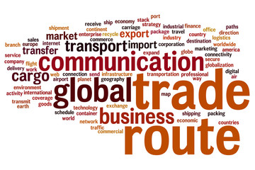 Trade route word cloud