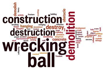 Wrecking ball word cloud