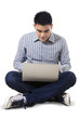 Man using laptop computer seriously