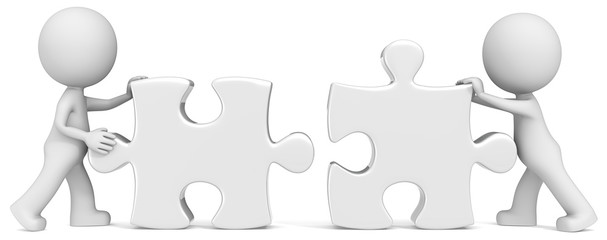 Dude the Business partners x 2 putting puzzle pieces together.