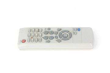 Used TV remote control isolated on white background
