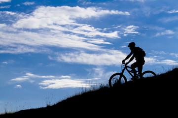 Biker silhouette, mountain bike