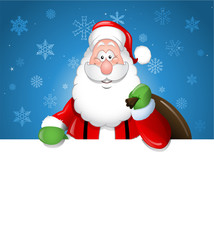 Cartoon Santa Claus over a white blank