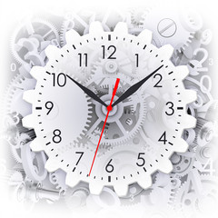 Clock face with figures and white gears
