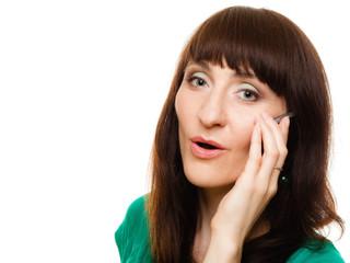 Surprised woman talking on mobile phone smartphone.