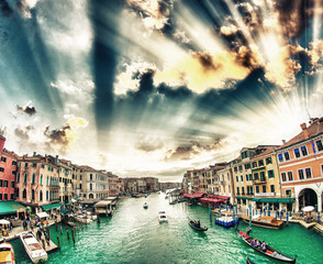 Grand Canal with Venice cityscape and tourists. All recognizable