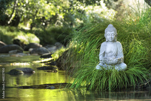 Poster Standbeeld Bouddha et Bien-être