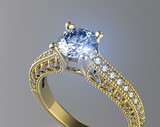 Golden Ring with Diamond. Jewelry background - 68338511