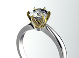 Golden Ring with Diamond. Jewelry background - 68338533