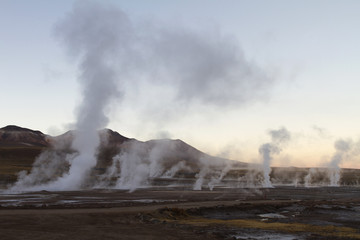 landscape of steam at El Tatio Geyser Chile