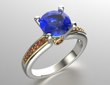 Golden Ring with Diamond. Jewelry background - 68338712