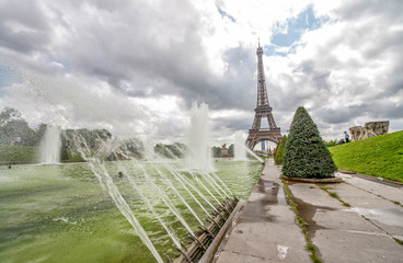 Eiffel Tower view from Trocadero gardens with fountains