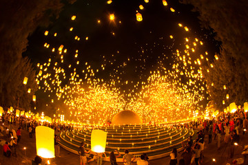 Floating lantern Mae Jo, Chiangmai,Thailand