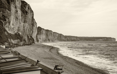 Fecamp in Normandy, France. Beautiful cliffs on the ocean