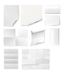 Paper sheets templates set isolated on white background