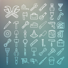 Tools and Equipment icons Set on Retina background