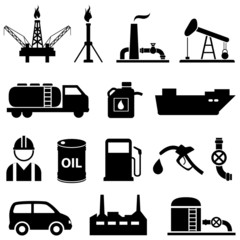 Oil, petroleum and gasoline icons