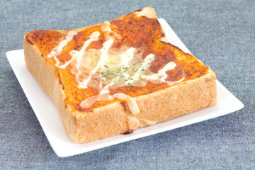Pizza toasted bread with tomato sauce and cheese