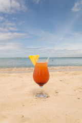 Refreshing summer cocktail on beach