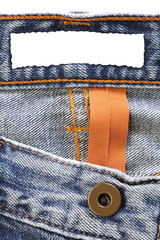 Close - up Blue jeans with blank label