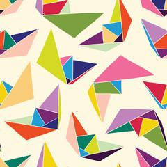 Paper ships seamless pattern