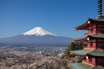 view of mountain fuji  from chureito pagoda