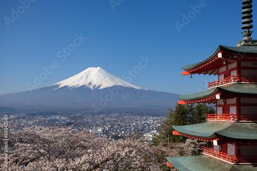 Foto op Plexiglas Japan view of mountain fuji from chureito pagoda