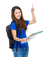 Young woman travel with backpack and map