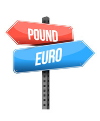 pound, euro street sign illustration design