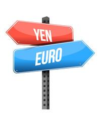yen euro street sign illustration design
