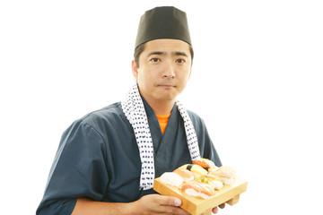 笑顔の寿司職人