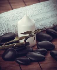spa concept.  zen basalt stones