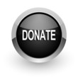 donate black chrome glossy web icon