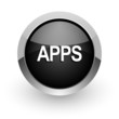 apps black chrome glossy web icon