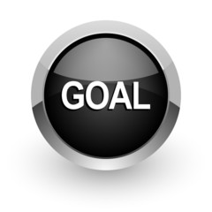 goal black chrome glossy web icon