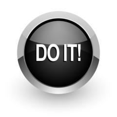 do it black chrome glossy web icon
